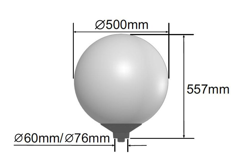 Albion LED Globe Light Dimensions