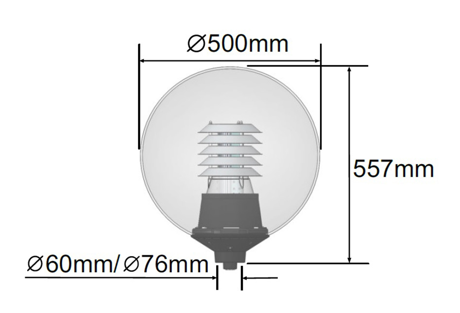 Dauntless Sphere LED Light Dimensions