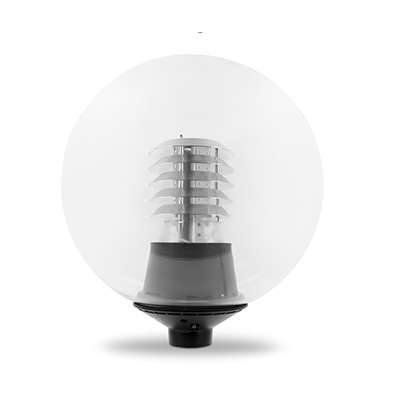 LED Globe Post Top Amenity Light 500mm 76mm Pole Clear