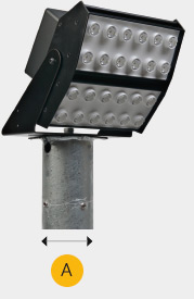 Flood Light LED Lighting Brackets for 60mm and 76mm spigot columns