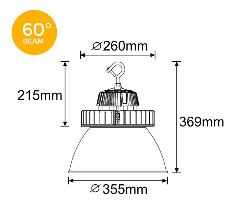 Orion 150W 60 degree LED High Bay Light Dimensions