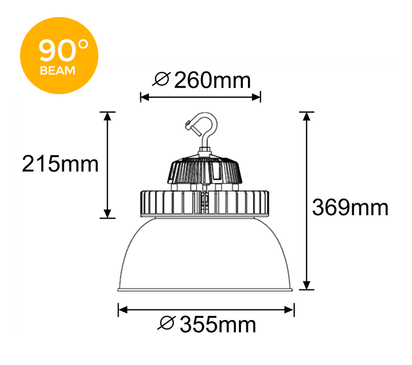 Orion 150W 90 degree LED High Bay Light Dimensions