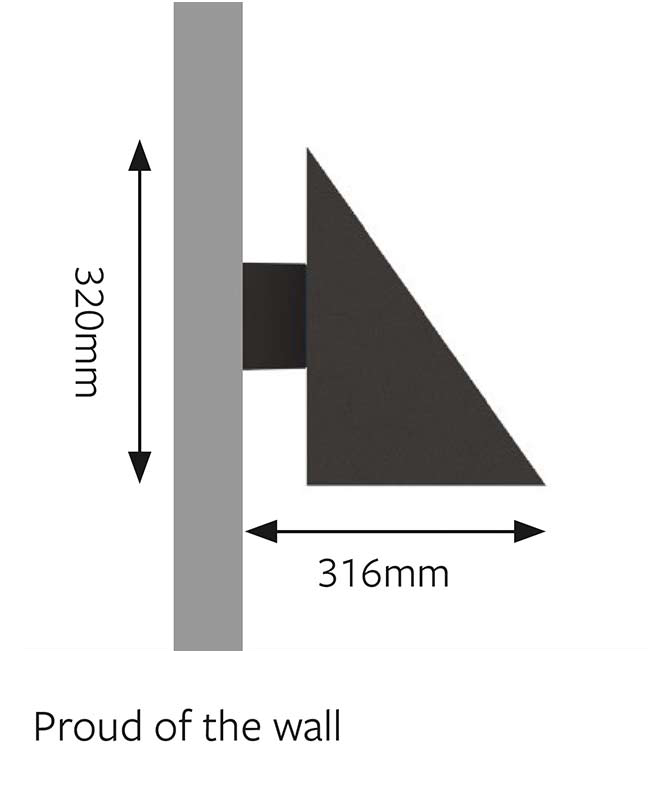 Mayfair LED Wall Mounted Light Dimensions Proud
